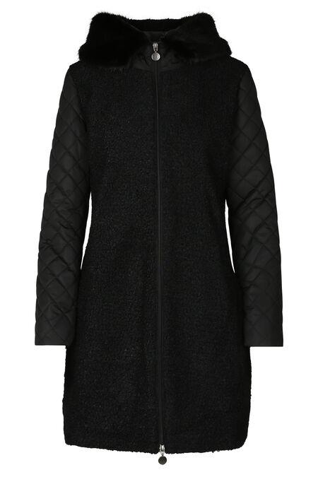 Lange jas in twee stoffen met kraag in imitatiebont - Zwart