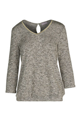 T-shirt in warm tricot met lurexgaren, Goud
