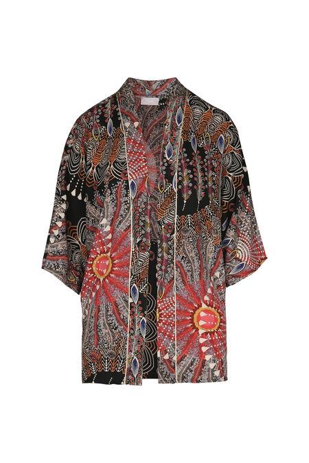 Kimonojasje met pluimenprint - Multicolor