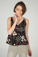 Top met dunne schouderbandjes en bloemenprint, Zwart