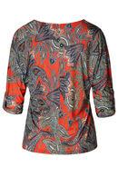 T-shirt imprimé cachemire col zip, Rouge