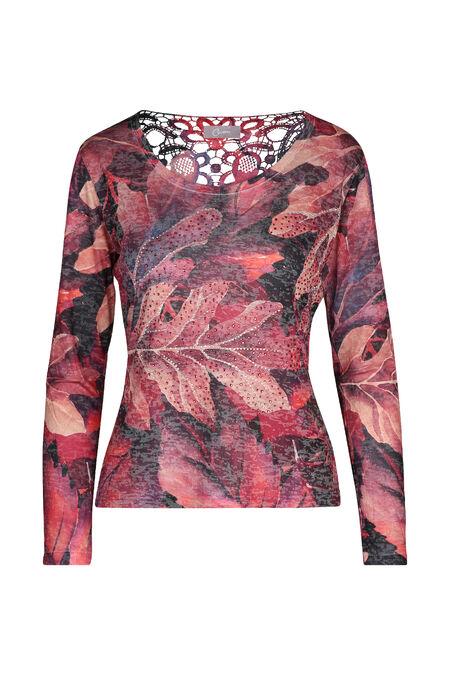 T-shirt imprimé feuilles et strass - Rouge