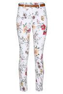 Pantalon chino imprimé fleurs, Blanc