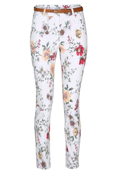 Pantalon chino imprimé fleurs - Blanc