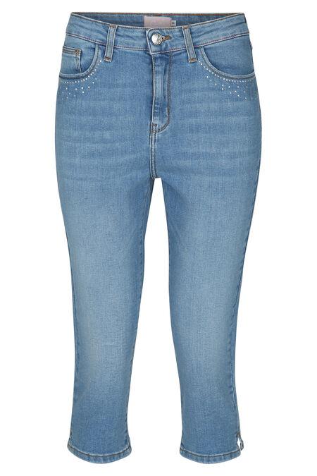 Kuitlange jeans in katoen met strassteentjes - Denim