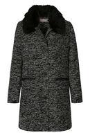 Lange mantel met afneembare kraag in imitatiebont, Zwart