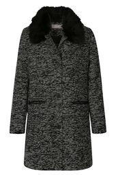 Lange mantel met afneembare kraag in imitatiebont