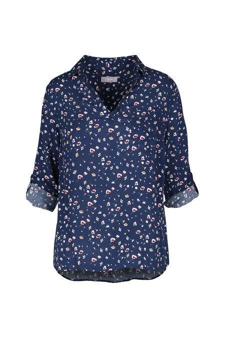 Tuniek met bloemetjes - Marineblauw