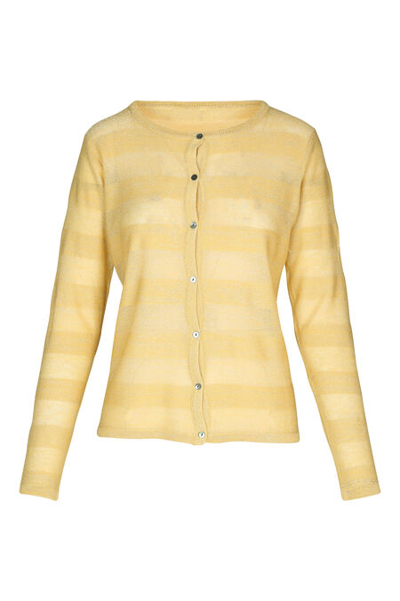 Cardigan in lurextricot - Geel