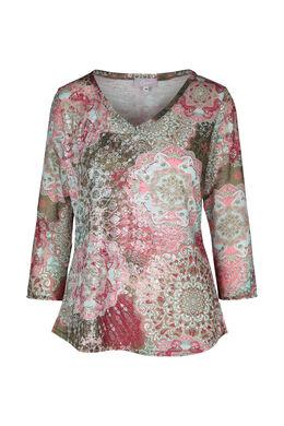 T-shirt imprimé de rosaces, Rose