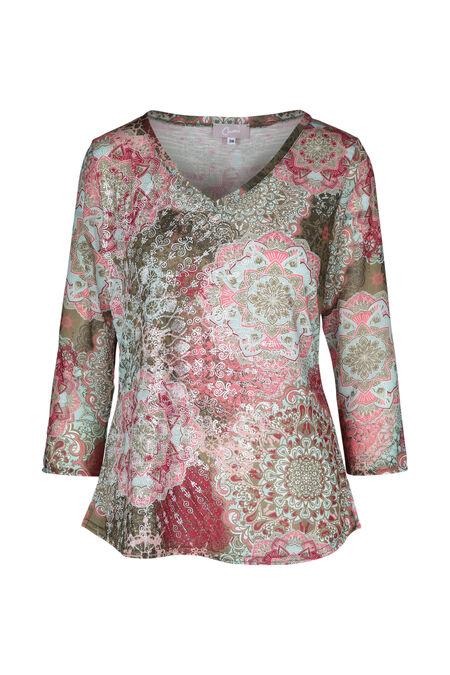 T-shirt bedrukt met rozetten - Roze