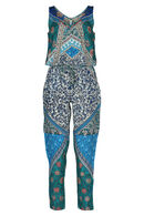 Bedrukte jumpsuit By Derhy, Turquoise