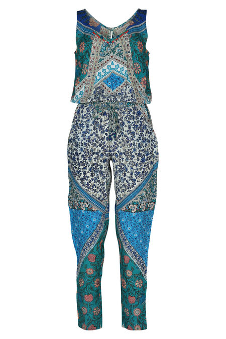 Bedrukte jumpsuit By Derhy - Turquoise