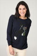 Trui met katten, Marineblauw