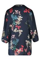 Kimono imprimé fleurs, Marine