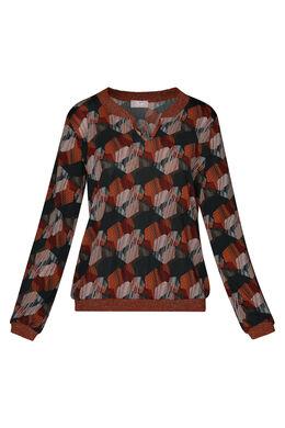 T-shirt met fantasieprint en lurexstroken, Oranje