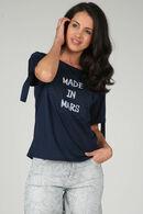 T-shirt met opdruk 'Made in mars', Marineblauw