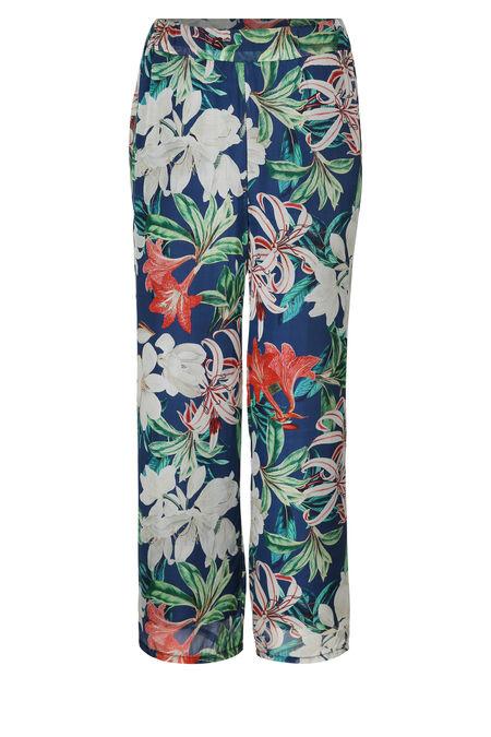 Brede broek met een tropische bloemenprint - Marineblauw