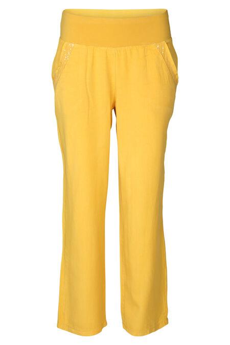 Pantalon lyocel avec sequins - Ocre