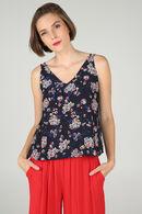 Top met dunne schouderbandjes en bloemenprint, Marineblauw