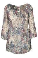 Blouse met satijnlook en foulardprint, Marineblauw