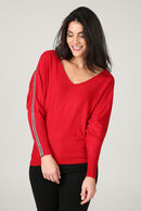Pull bandes strass, Rouge