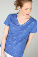 T-shirt à dessins plumes, Bleu royal