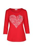 T-shirt imprimé cœur, Rouge
