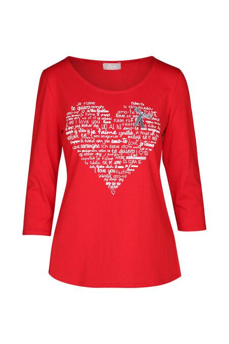 T-shirt imprimé cœur - Rouge