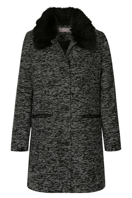 Lange mantel met afneembare kraag in imitatiebont - Zwart
