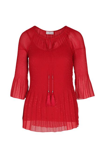 Tunique en voile plissée imprimée - Rouge