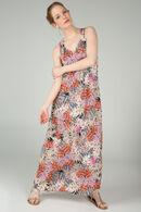 Robe longue imprimé gomme feuilles, Rose