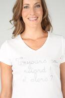 T-shirt 'Toujours en retard ! Et alors ?', Ecru