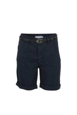 Katoenen short met riem, Marineblauw