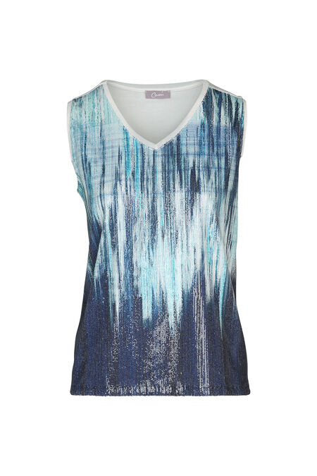 T-shirt met lovertjes en blauwe print - Turquoise