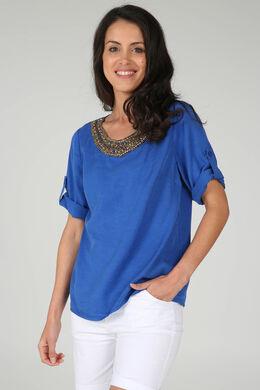 Tuniek in lyocell met juweelkraag, Koningsblauw