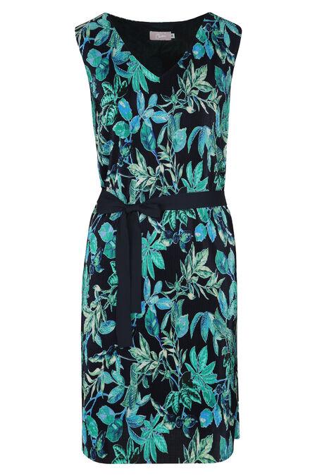Robe plissée imprimé fleuri - Turquoise