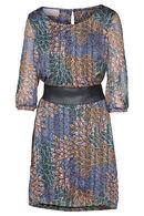 Robe en voile imprimé feuilles, Bleu royal
