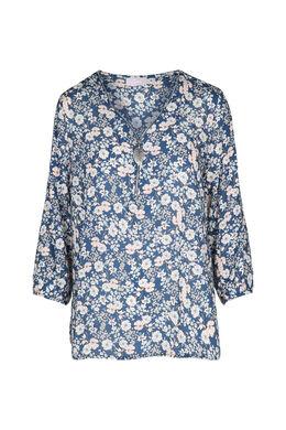 Tuniek met bloemenprint, Blauw