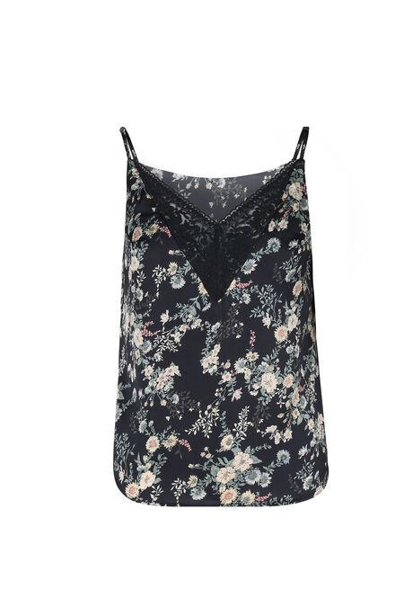 Top met dunne schouderbandjes en bloemenprint - Marineblauw