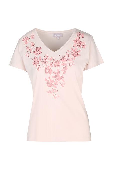 T-shirt met zeefdruk van bloemen - huidskleur