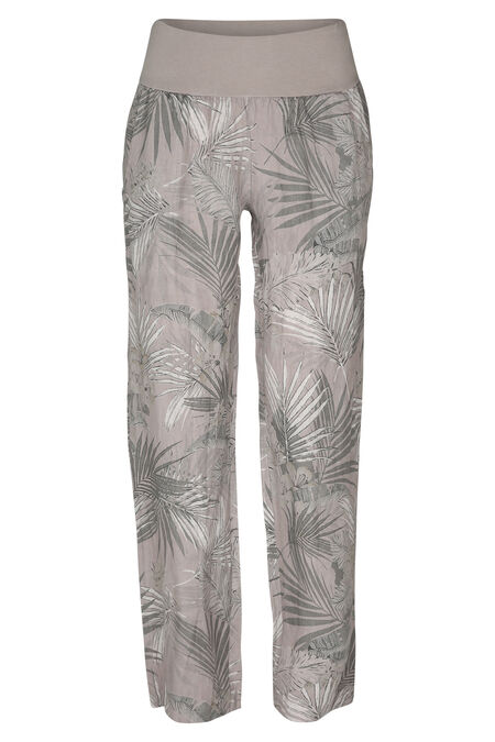 Pantalon en lin imprimé jungle - Beige