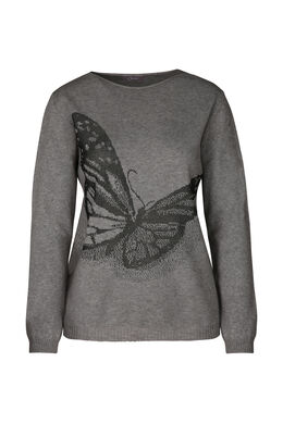 Jacquardtrui met vlinder, Grijs
