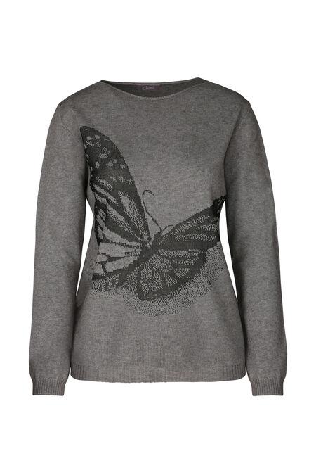 Jacquardtrui met vlinder - Grijs