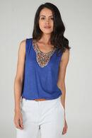 T-shirt plastron de perles, Bleu royal