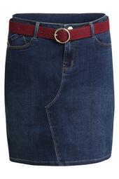 Cassis-Jeansrok met riem en goudkleurige details