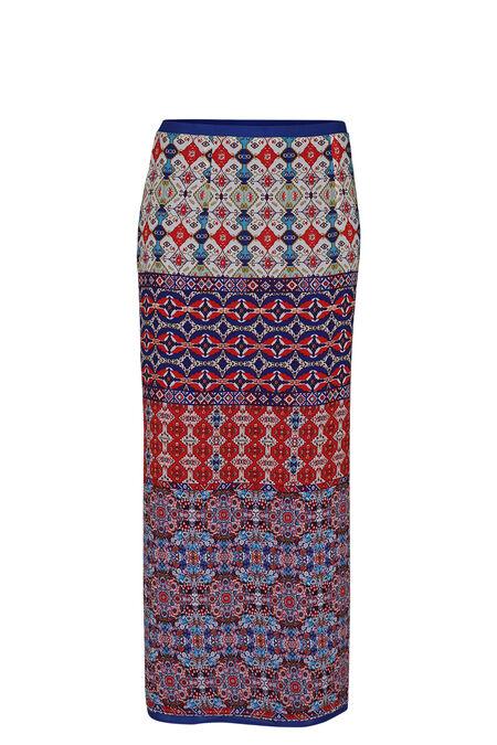 Lange rok met folkprint - Multicolor