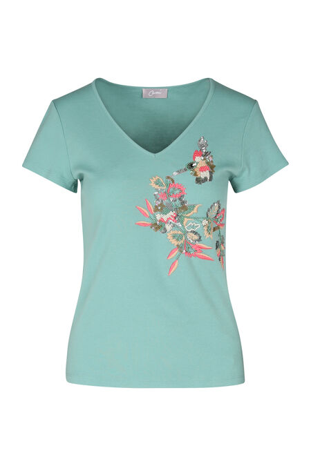 T-shirt en coton brodé - aqua
