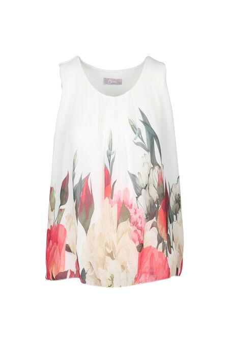 Blouse imprimé roseaux et fleurs - multicolor