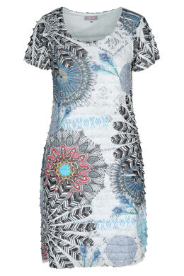 Bedrukte jurk met volants, Blauw